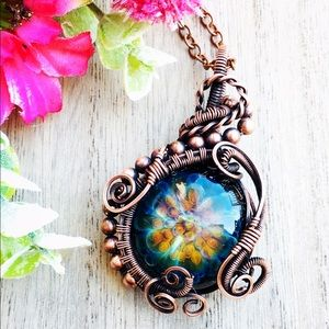 Flower bomb glass wire wrapped pendant necklace